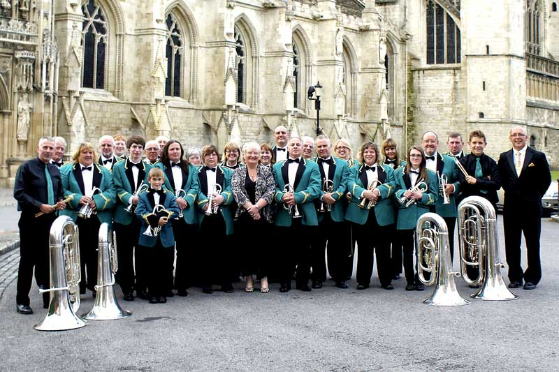 Photograph of Forest of Dean Brass band at Gloucester Cathedral