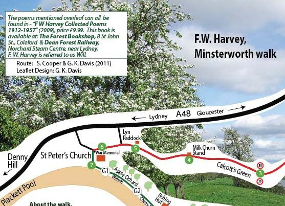 A leaflet about a walk around Minsterworth based on the Gloucestershire poet F W Harvey.