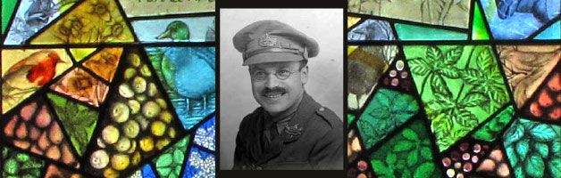 An image showing F. W. Harvey and the Memorial Window at St Peter's Church, Minsterworth