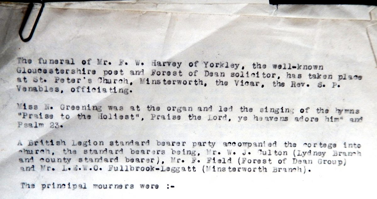 An extract from FW Harvey funeral report 1957