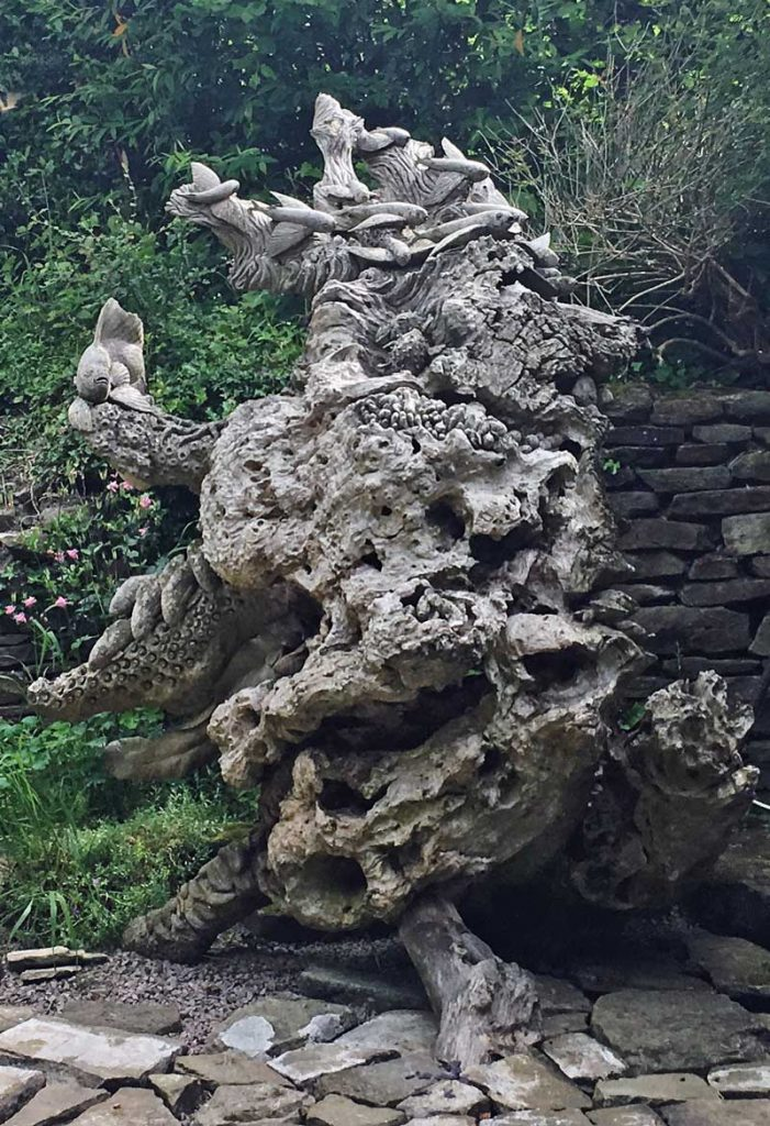 A carved treestump