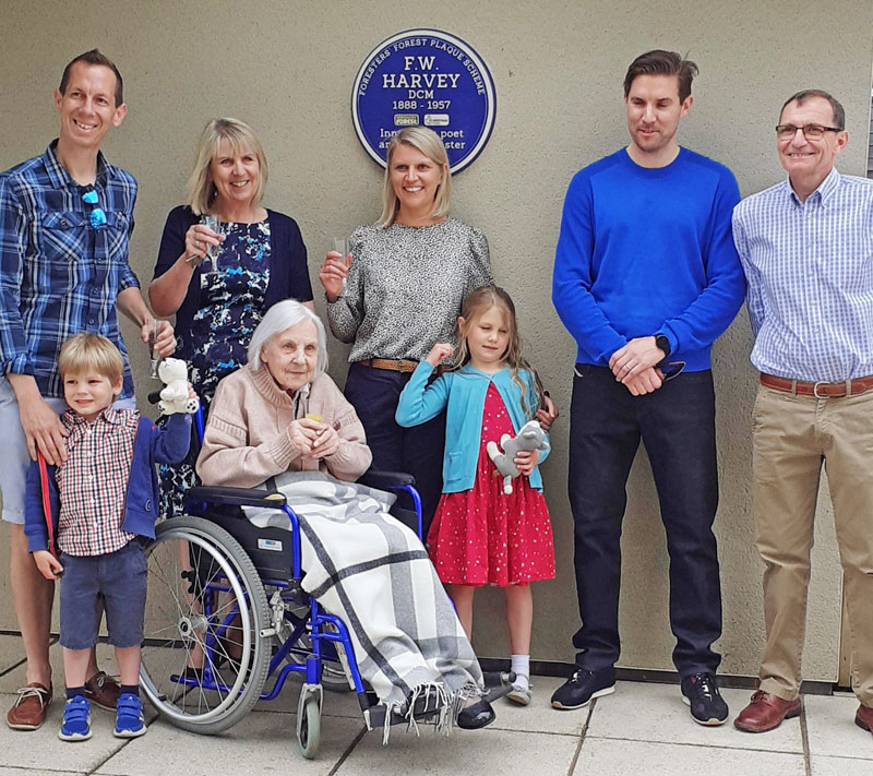The Harvey family at the unveiling of the blue plaque at Yorkley